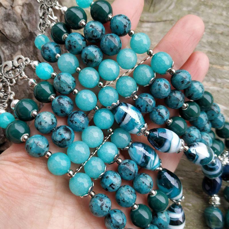 """Ожерелье """"Глубины океана"""" (керамика, агат, хризоколла, кварц) Бирюзовый керамика, агат, хризоколл Дзюба Христина - фото 2"""