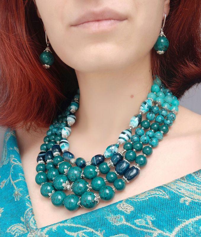 """Ожерелье """"Глубины океана"""" (керамика, агат, хризоколла, кварц) Бирюзовый керамика, агат, хризоколл Дзюба Христина - фото 10"""