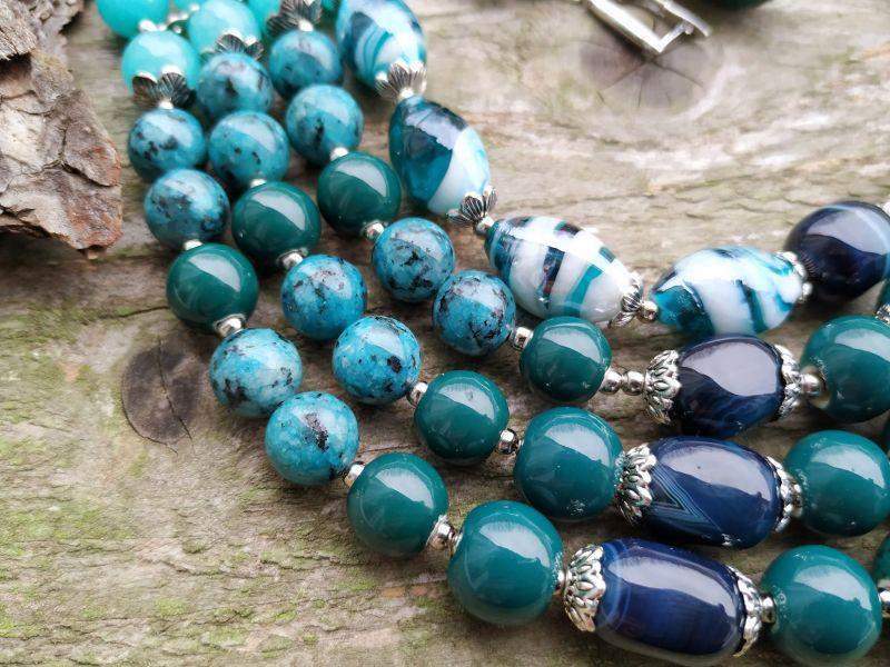 """Ожерелье """"Глубины океана"""" (керамика, агат, хризоколла, кварц) Бирюзовый керамика, агат, хризоколл Дзюба Христина - фото 8"""