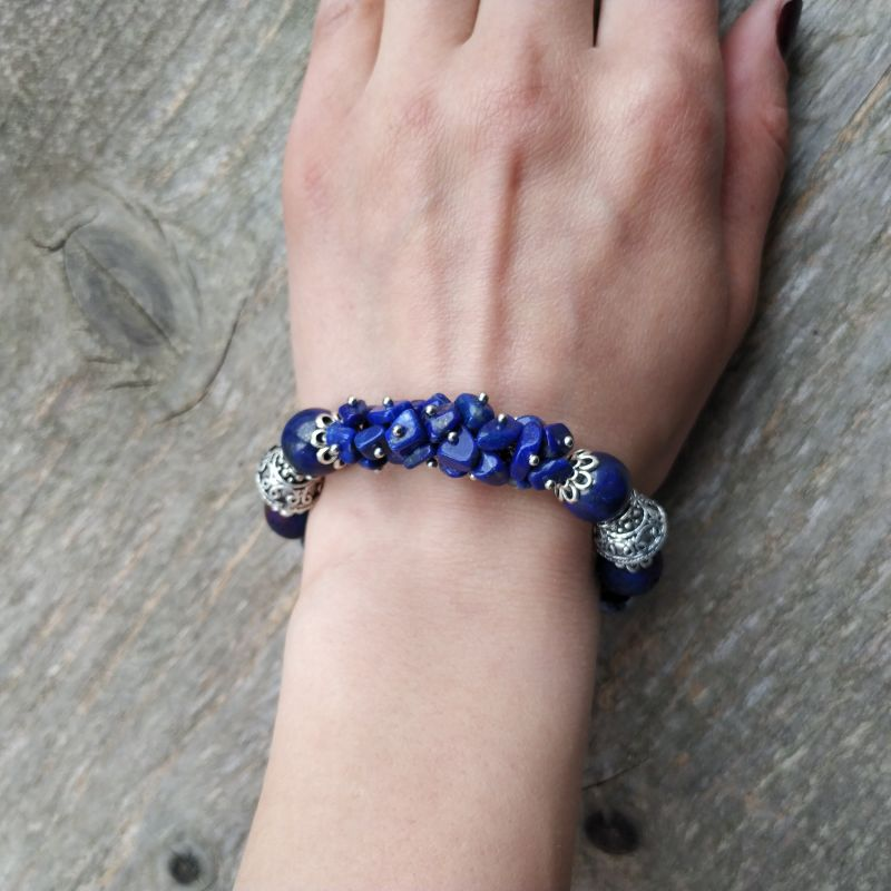 Браслет для Весов (лазурит, лава, керамика, содалит) Синий лазурит, лава, керамика, Дзюба Христина - фото 4