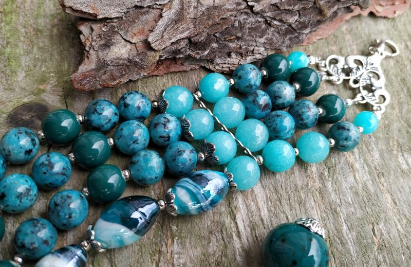"""Ожерелье """"Глубины океана"""" (керамика, агат, хризоколла, кварц) Бирюзовый керамика, агат, хризоколл Дзюба Христина - фото 3"""