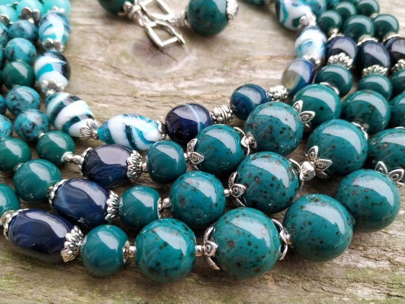 """Ожерелье """"Глубины океана"""" (керамика, агат, хризоколла, кварц) Бирюзовый керамика, агат, хризоколл Дзюба Христина - фото 6"""