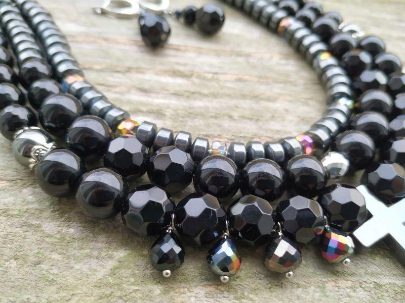 """Ожерелье """"Вечерние огни"""" (агат, гематит) Черный - черный прессованный ага Дзюба Христина - фото 2"""