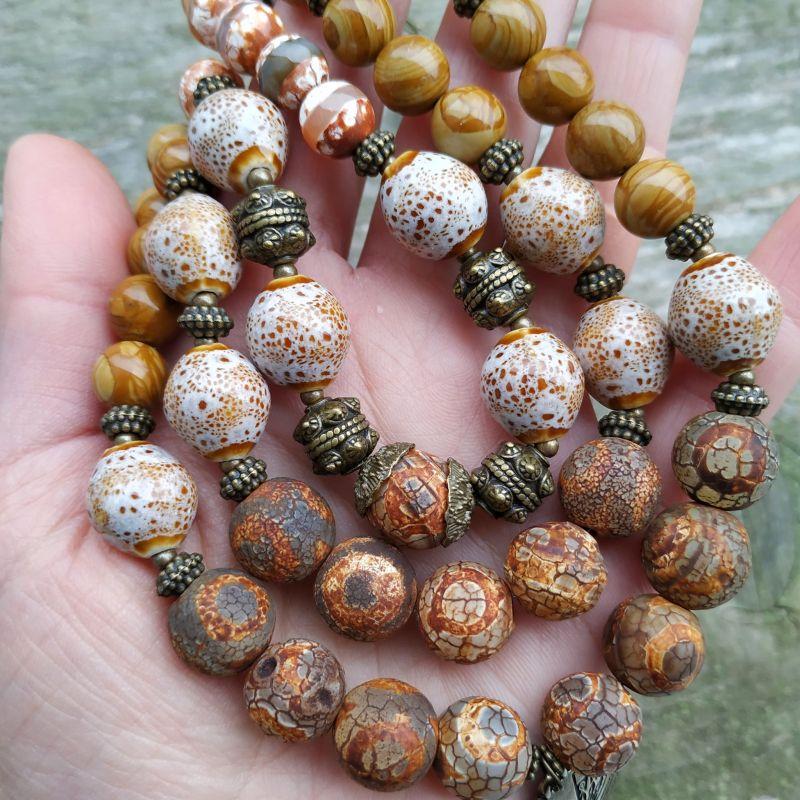 """Ожерелье """"Уснули травы до весны"""" (агат, керамика, яшма) Разноцветный агат Дзи, керамика, пейза Дзюба Христина - фото 3"""