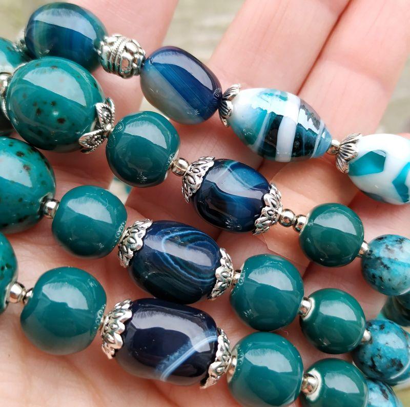 """Ожерелье """"Глубины океана"""" (керамика, агат, хризоколла, кварц) Бирюзовый керамика, агат, хризоколл Дзюба Христина - фото 7"""