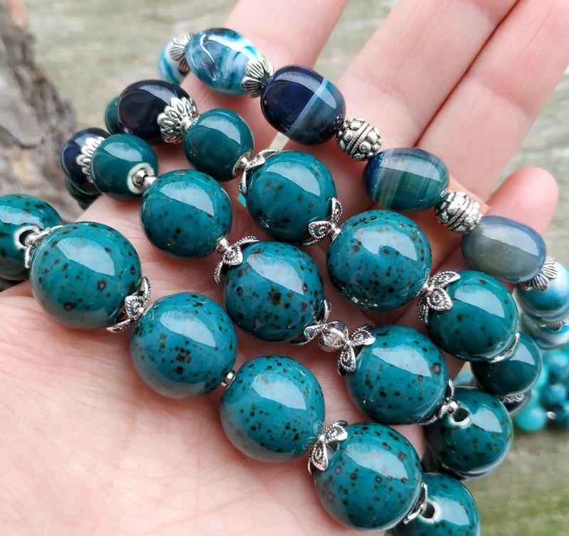 """Ожерелье """"Глубины океана"""" (керамика, агат, хризоколла, кварц) Бирюзовый керамика, агат, хризоколл Дзюба Христина - фото 9"""