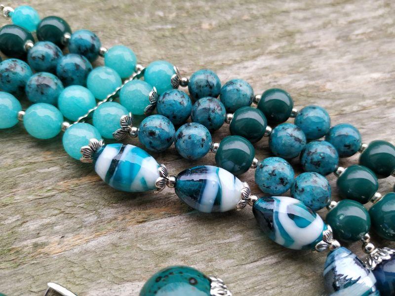 """Ожерелье """"Глубины океана"""" (керамика, агат, хризоколла, кварц) Бирюзовый керамика, агат, хризоколл Дзюба Христина - фото 5"""