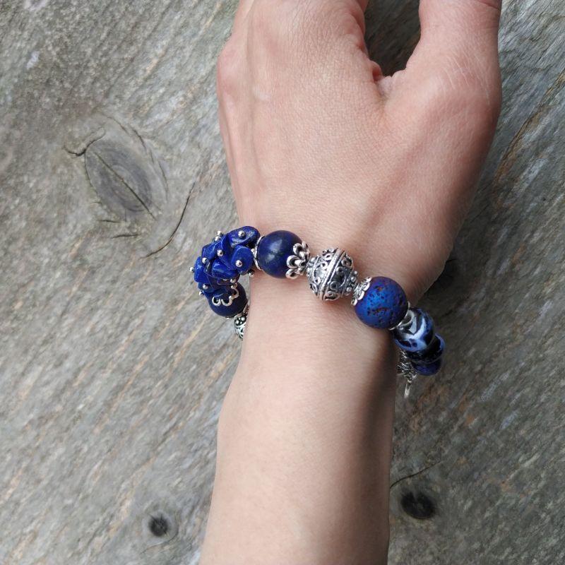 Браслет для Весов (лазурит, лава, керамика, содалит) Синий лазурит, лава, керамика, Дзюба Христина - фото 3