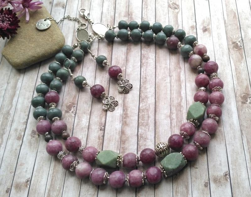 """Ожерелье и серьги """"Цветы на руинах"""" Разноцветный Лепидолит (12 мм.), Зелен Дзюба Христина - фото 2"""