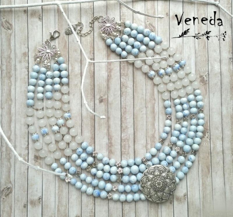 """Ожерелье """"Лотос"""" Голубой Холодный фарфор, белый не Дзюба Христина - фото 1"""