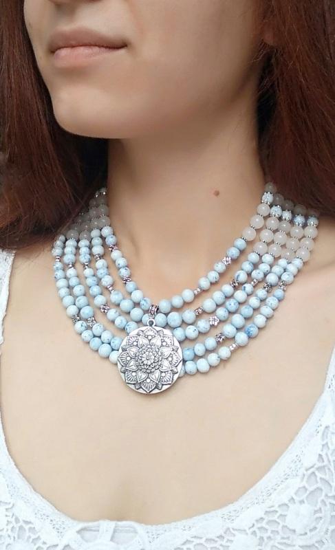 """Ожерелье """"Лотос"""" Голубой Холодный фарфор, белый не Дзюба Христина - фото 2"""
