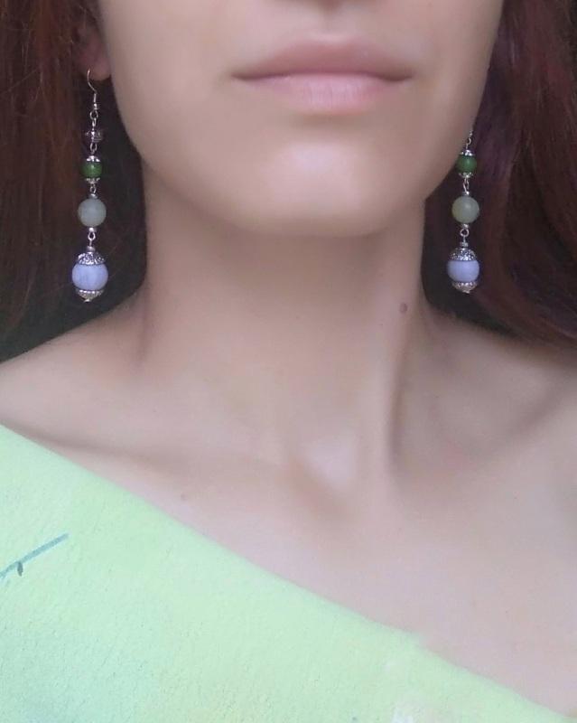 """Серьги """"Весенние первоцветы"""" Разноцветный Амазонит, бусины ручной р Дзюба Христина - фото 3"""