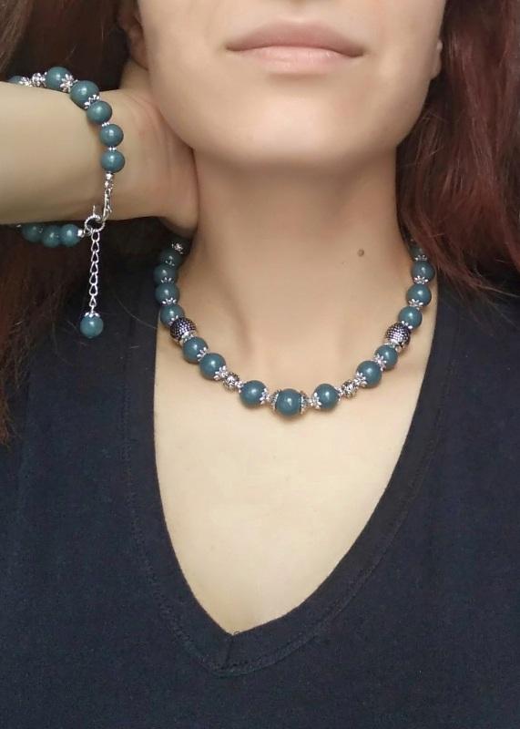 """Ожерелье """"Лазурное"""" Голубой Холодный фарфор. Длина-43 Дзюба Христина - фото 2"""