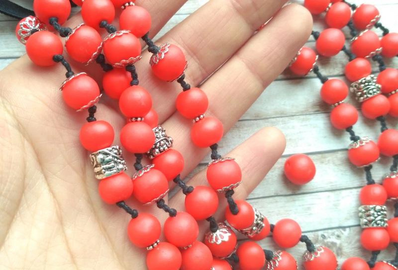 """Ожерелье """"Калина"""" Красный Бусины ручной работы с хо Дзюба Христина - фото 3"""