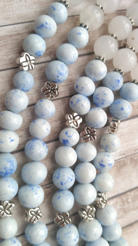 """Ожерелье """"Лотос"""" Голубой Холодный фарфор, белый не Дзюба Христина - фото 7"""