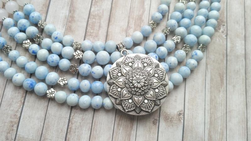 """Ожерелье """"Лотос"""" Голубой Холодный фарфор, белый не Дзюба Христина - фото 8"""