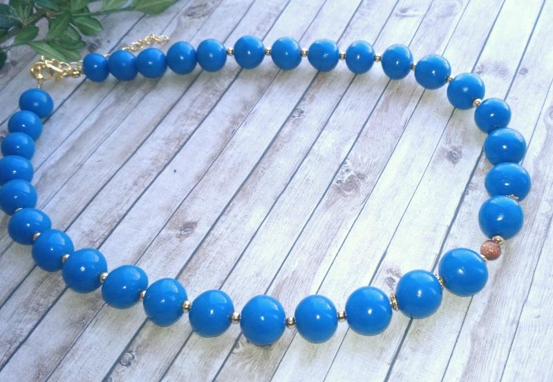 "Ожерелье ""Синевир""  Холодный фарфор, бусина н Дзюба Христина - фото 1"