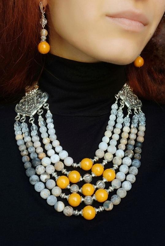 """Ожерелье """"Поздняя хризантема"""" Кофейный Ожерелье создано с желтой Дзюба Христина - фото 2"""