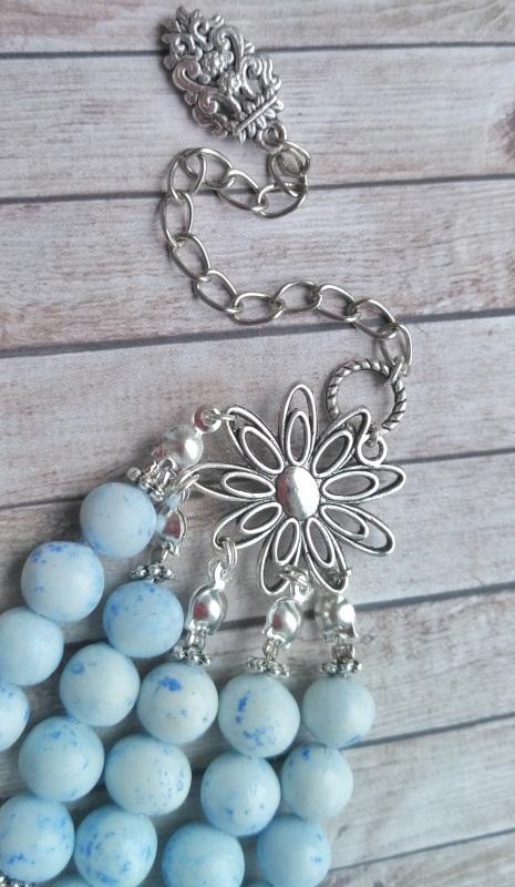 """Ожерелье """"Лотос"""" Голубой Холодный фарфор, белый не Дзюба Христина - фото 5"""