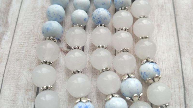 """Ожерелье """"Лотос"""" Голубой Холодный фарфор, белый не Дзюба Христина - фото 4"""