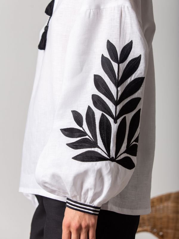 Вышиванка с черным растительным орнаментом Leaf Белый Цвет - белый. Ткань - лен ЕтноДім - фото 6