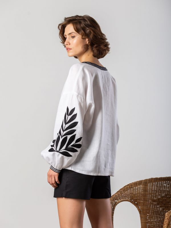 Вышиванка с черным растительным орнаментом Leaf Белый Цвет - белый. Ткань - лен ЕтноДім - фото 4