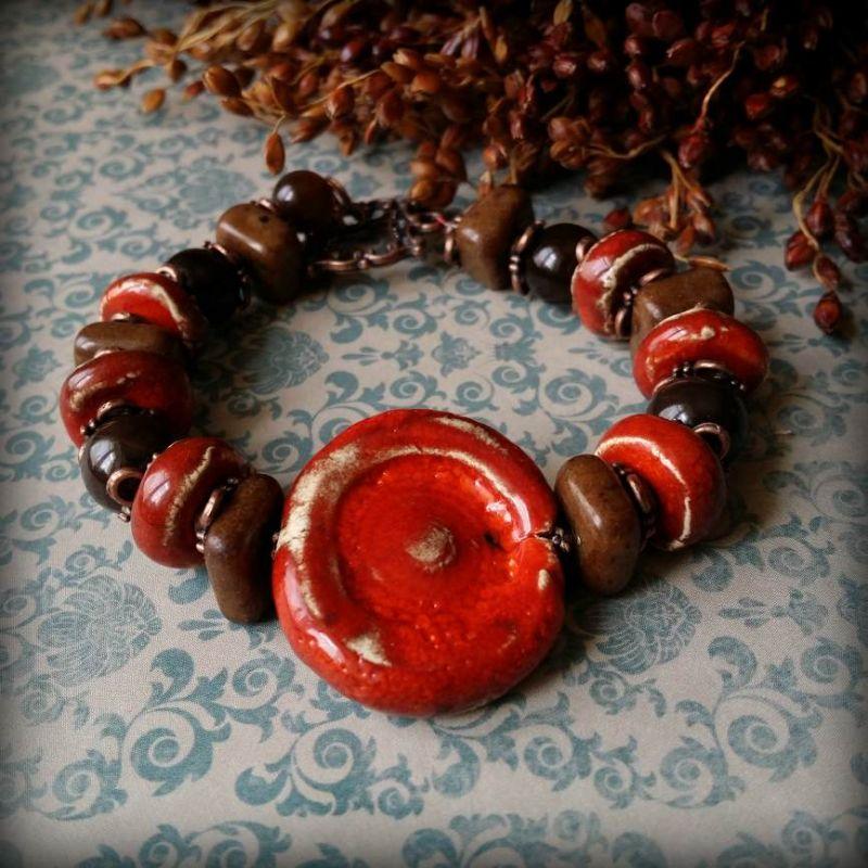 Красный браслет из керамики Красный керамика ручной работы, а Для Счастья - фото 1