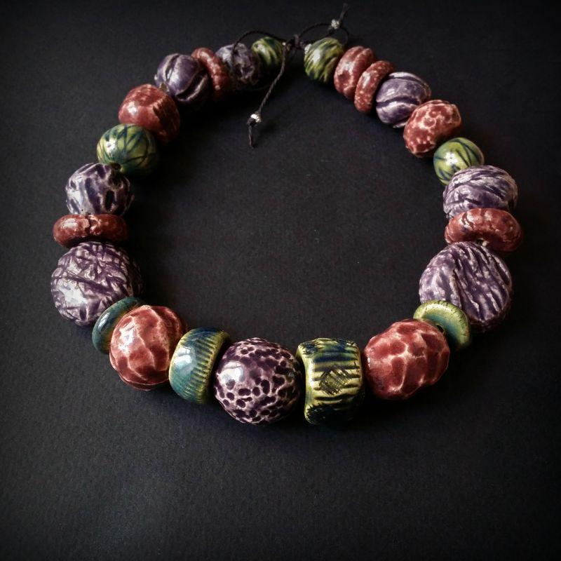 Букет сирени бусы из керамики ручной работы Разноцветный авторская керамика ручной Для Счастья - фото 4