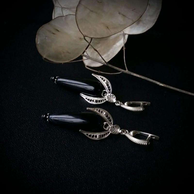 Серьги черный феникс с агатом Черный серебро 925 пробы, агат, Для Счастья - фото 2