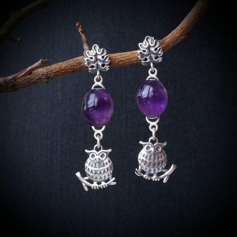 Серебряные серьги с аметистом Фиолетовый аметист, серебро 925 проб Для Счастья - фото 1