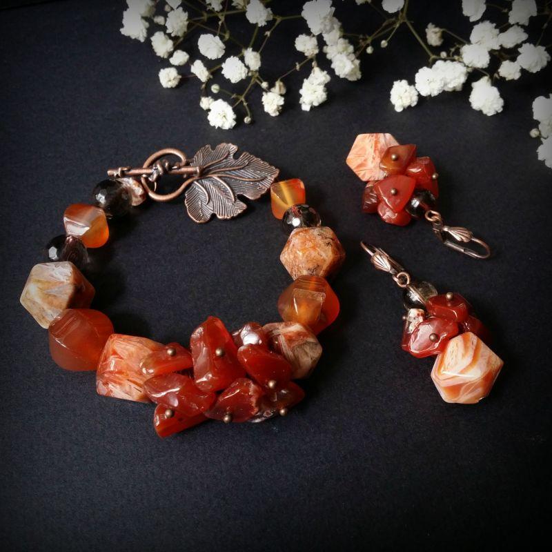 Комплект украшений из сердолика - браслет и серьги Оранжевый Браслет сердолик, раухто Для Счастья - фото 1