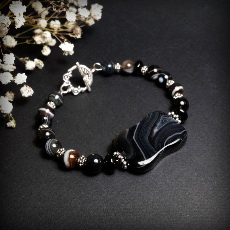 Черный агатовый браслет Черный агат, фурнитура из бижуте Для Счастья - фото 1