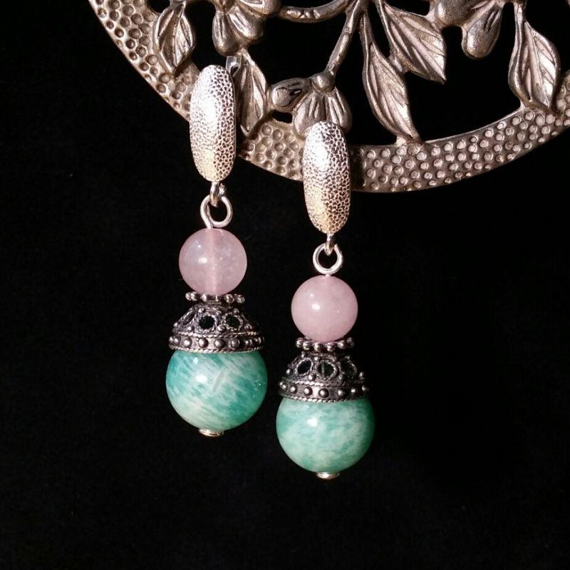 Серьги из серебра с амазонитом и кварцем Зеленый амазонит, тонированный кв Для Счастья - фото 1