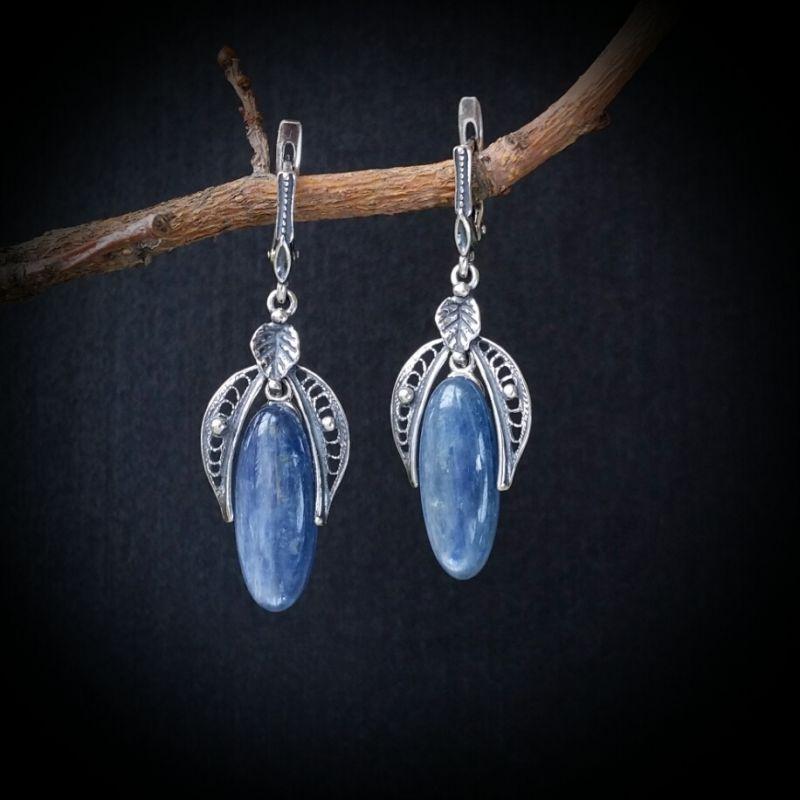 Серебряные серьги Синяя птица  кианит, серебро 925 пробы Для Счастья - фото 1