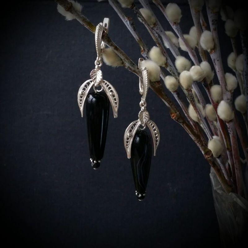 Серьги черный феникс с агатом Черный серебро 925 пробы, агат, Для Счастья - фото 1