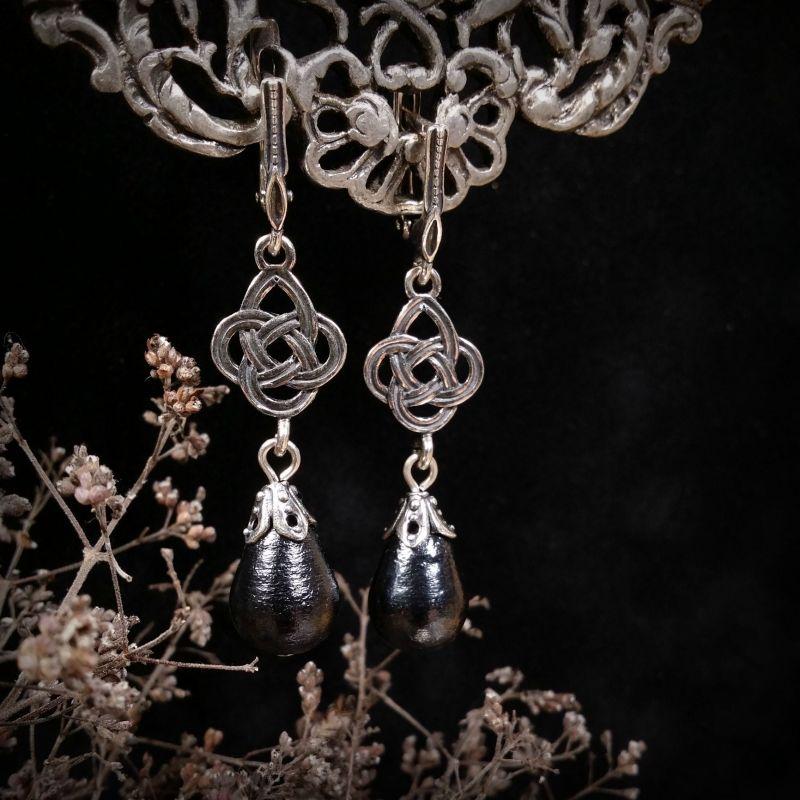 Кельтская ночь Черный серебро 925 пробы, хлопко Для Счастья - фото 1