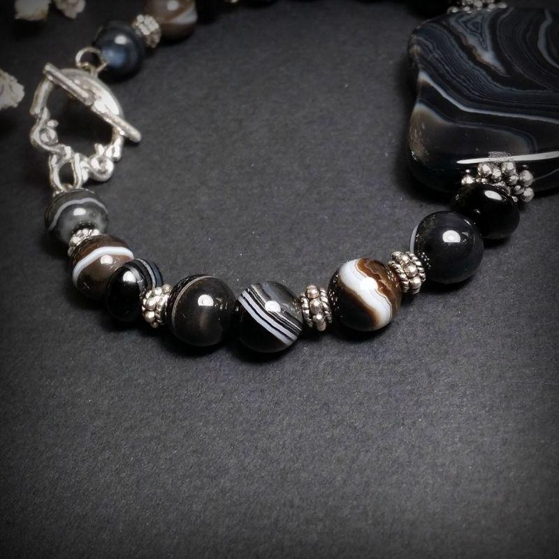 Черный агатовый браслет Черный агат, фурнитура из бижуте Для Счастья - фото 3