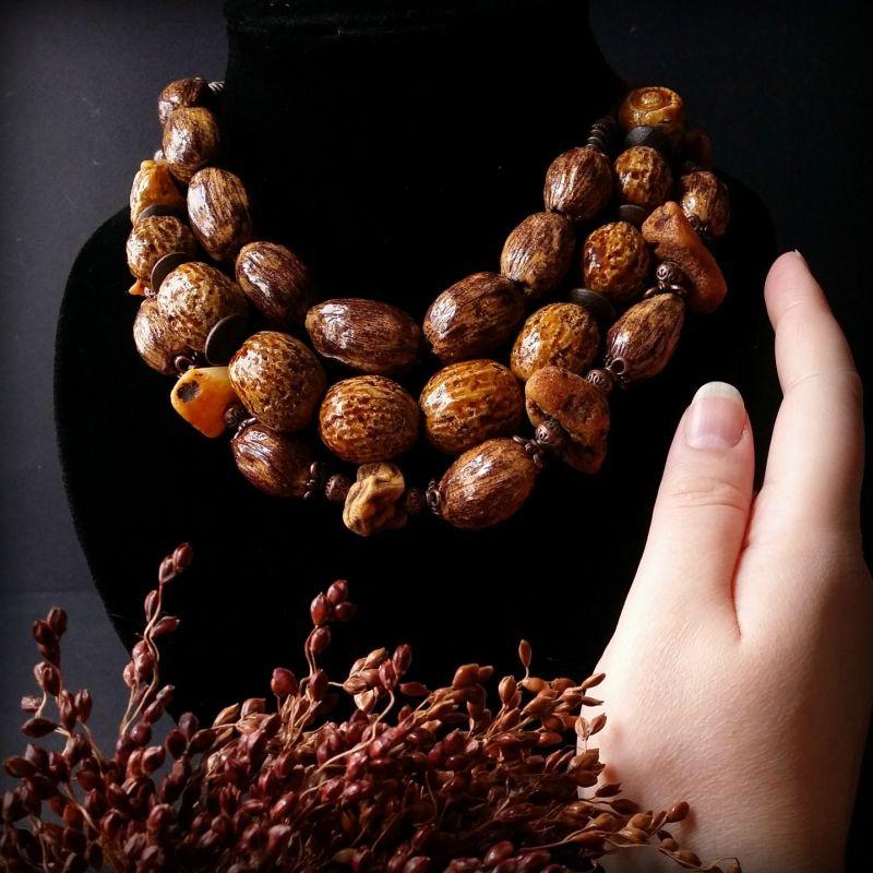 Дикий мед - сет из 3 бус Коричневый авторская керамика ручной Для Счастья - фото 6