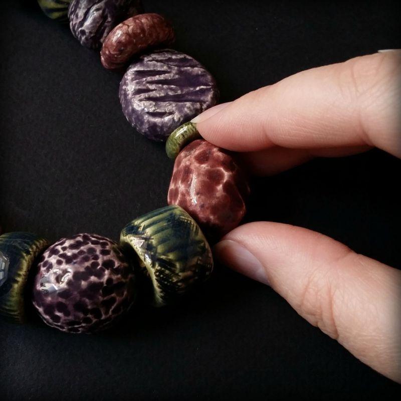 Букет сирени бусы из керамики ручной работы Разноцветный авторская керамика ручной Для Счастья - фото 3