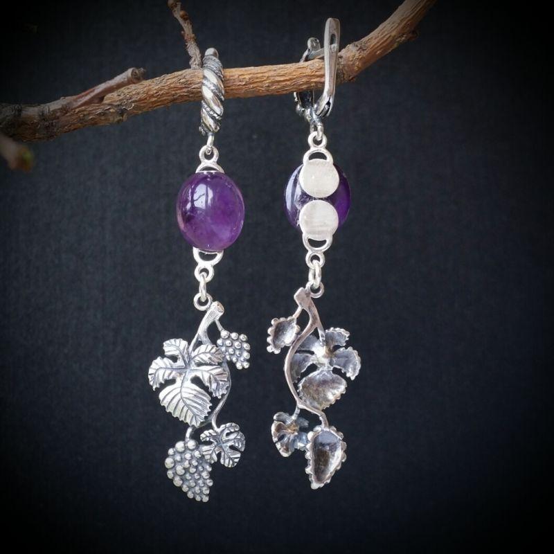 Серебряные серьги Лоза Фиолетовый аметист, серебро 925 проб Для Счастья - фото 2