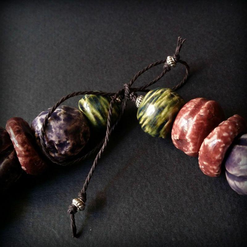 Букет сирени бусы из керамики ручной работы Разноцветный авторская керамика ручной Для Счастья - фото 2
