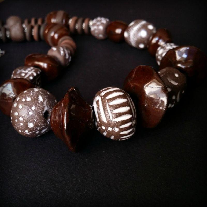 Необычные бусы из керамики ручной работы Коричневый моя авторская керамика ру Для Счастья - фото 3