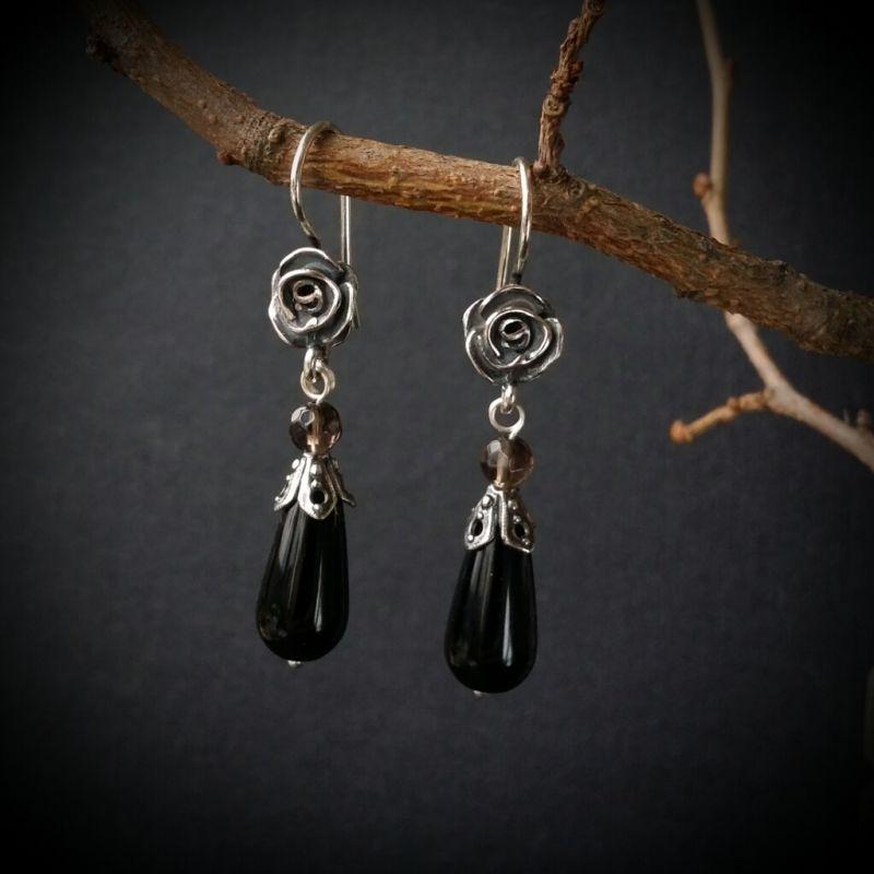 Серебряные серьги Черная роза  агат, раухтопаз, серебро Для Счастья - фото 1