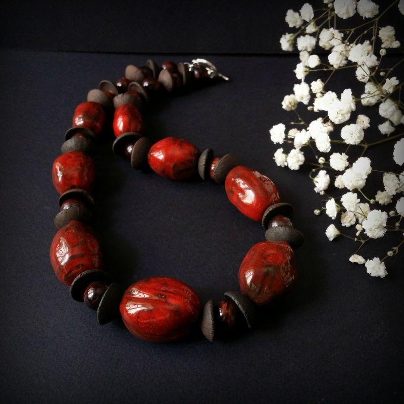 Красные бусы из керамики Красный моя авторская керамика ру Для Счастья - фото 1