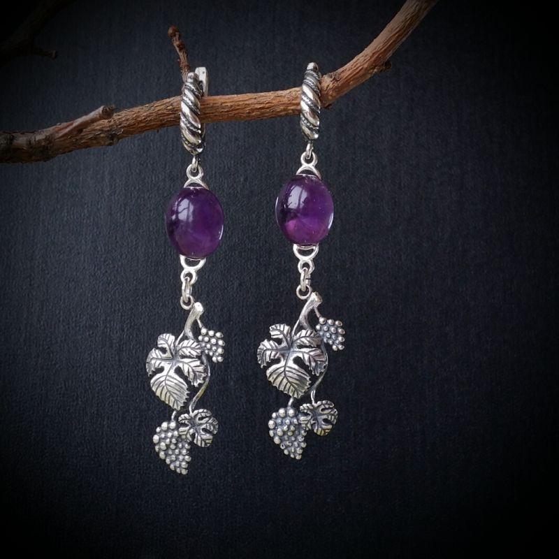Серебряные серьги Лоза Фиолетовый аметист, серебро 925 проб Для Счастья - фото 1