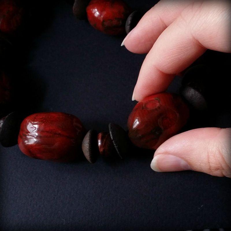 Красные бусы из керамики Красный моя авторская керамика ру Для Счастья - фото 2