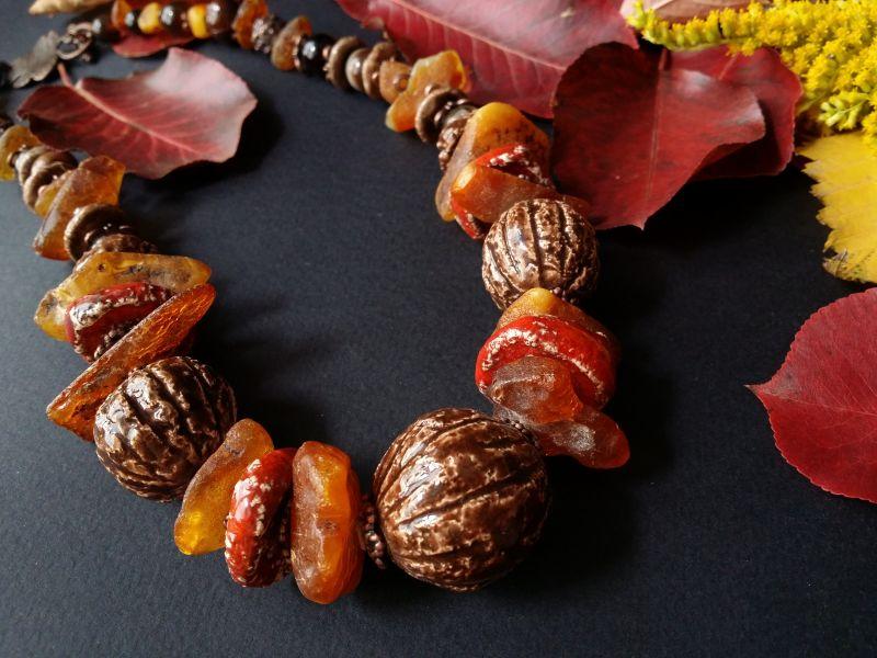 Керамические бусы Орешки Оранжевый керамика ручной работы, я Для Счастья - фото 5