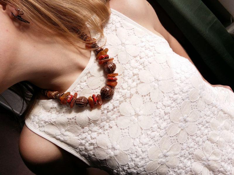 Керамические бусы Орешки Оранжевый керамика ручной работы, я Для Счастья - фото 2