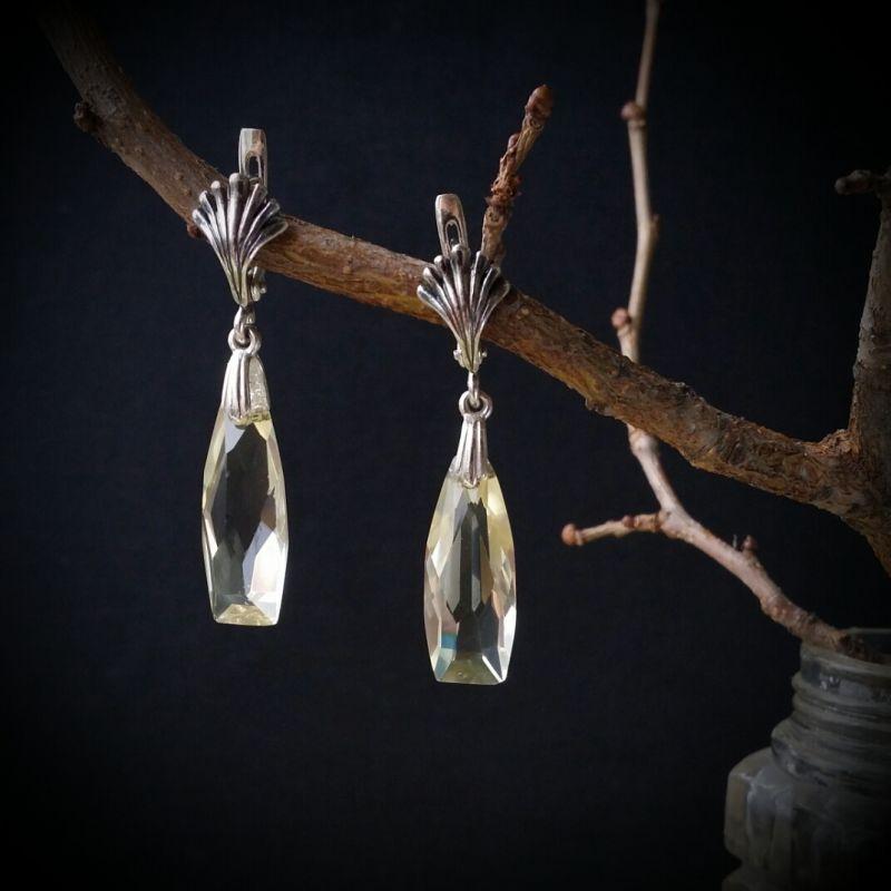 Серебряные серьги Лимончелло   винтажные подвески из юве Для Счастья - фото 1