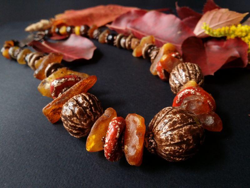 Керамические бусы Орешки Оранжевый керамика ручной работы, я Для Счастья - фото 1